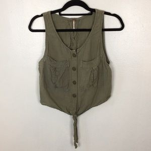 Free People Khaki Colored Crop Top